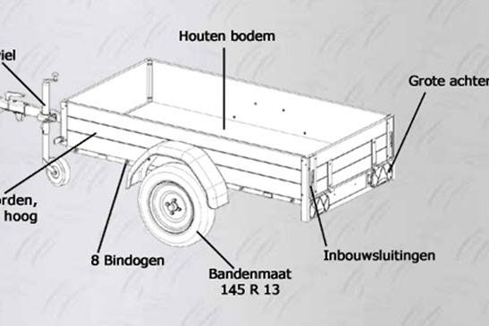 Anssems Bagagewagen GT500-151HT 1as onger. 151x101x 48cm/500kg